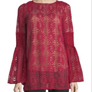 Michael Kors Long Lace Bell Sleeve Tunic Blouse